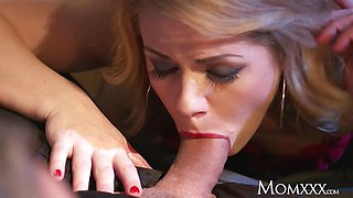 MOM MILF in stockings and heels gives dude smoking sex