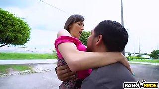 Lexi luna flashes her big boobs and fucks like a slut on public
