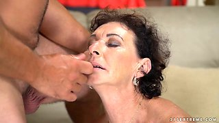 Busty mature pale slut Pixie gets fucked missionary style damn well