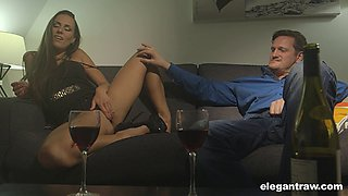 Two guys bring a hottie home and double team her on the couch