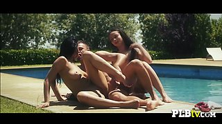 Friends heat up the swimming pool by engaging in a hot threesome