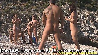 European beach sexgames with nymphomaniac bikini babes