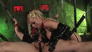 blonde dominatrix uses a sex slave for her stud fucking pleasure