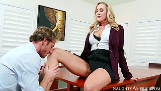 Brandi Love gets her pussy fingered by Ryan Mclane in the office
