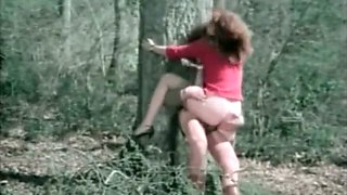 Horny studs attacked helpless red head whore in forest