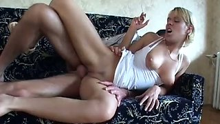 Smoking blonde gets her cunt pounded nicely indoors
