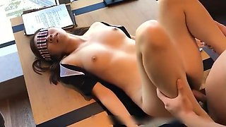 Crazy fuck Chinese teacher at the conference table