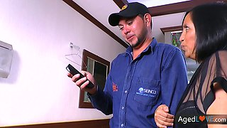 Mature whore wife Andrea is cheating on her husband with a cable guy