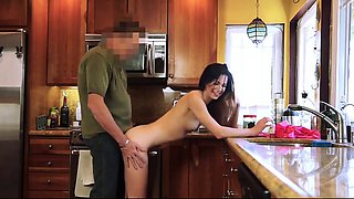 Tiny Step Daughter Pounded full In Kitchen