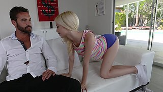 Petite blonde gets giant cock to play with