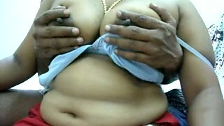 Amateur Indian chubby auntie lets me play with her big boobs