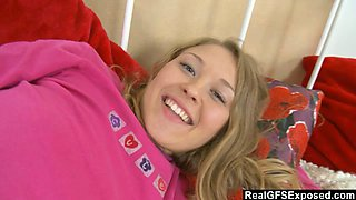 Marvelous blonde beauty is teasing and getting penetrated by a sex machine in pov