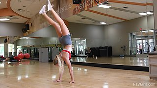 Flexible blonde sporty teen babe Angelina works out in tight shorts
