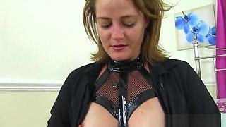 English milf Jozie wears naughty latex lingerie