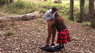 Outdoor forest cock riding with Latina Stacy Snake in a dress
