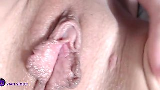 junior girl playing with her big clit and pussy lips