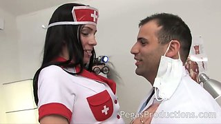 Horn-mad nurse Alyssa has lured her doctor to be fucked missionary hard