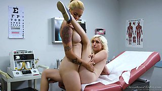 Seductive doctor Dana Vespoli is licking pussy of one nasty blond patient