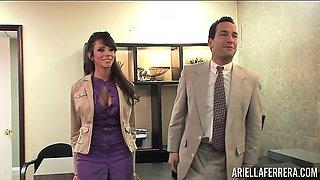 Boss Uses Ariella Ferrera While Another Couple Fucks