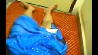 Indian aunty in blue saree strip and fucked