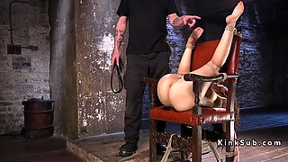 This hot chick is being stretched and tied up then she gets abused roughly