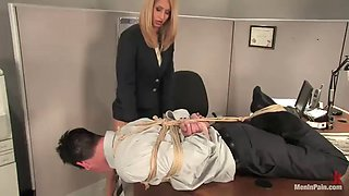 office bondage with a dominant blonde coworker