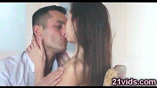 Lovely brunette makes passion sex