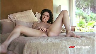 Astonishing busty flexible babe Jean Jacobs uses red toy to tease bald cunt