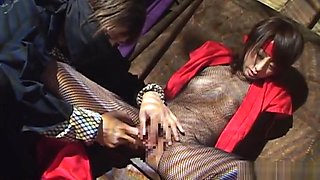 Juri Kano, Asian milf in sexy fishnets in arousing toy insertion on cam