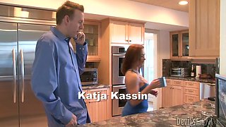Sexy redhead girl seduces her boss while his wife is shopping