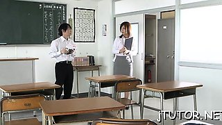 Mature teacher gets her milk cans squeezed and licked