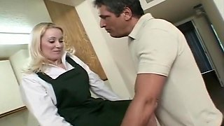 Blonde Fucked On Counter With Legs High
