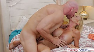 Bald headed neighbor cheats on his own wife with her busty friend Alexis Fawx