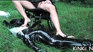 Hot female domination with tied up serf and suffocation
