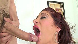 Seductive milf in nylon stockings gives a deepthroat blowjob in  a pov shoot