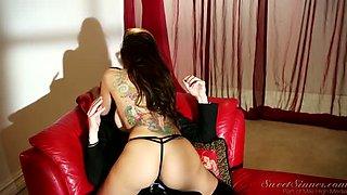 Bosomy mistress in lacy lingerie gives terrific lap dance