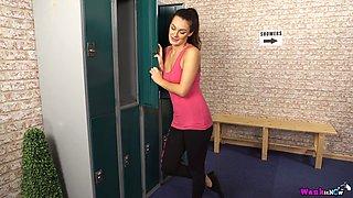 Torrid slender gal called Laura stripteases and poses nude in a locker room