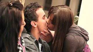 The insatiable Lane sisters seduce a virgin guy for a wild threesome