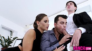 Office studs engage in a wild bi threesome with classy babe