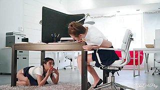 Cute Jojo Kiss and Maya Bijou scissor under the desk in the office