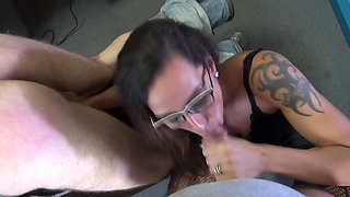 Whorish tattooed female boss is spanking dude before crazy anal sex in the office