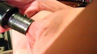 Using the Vacuum on my Big Erect Clit