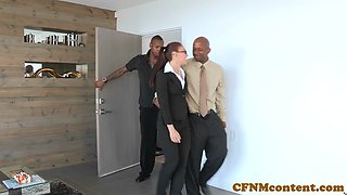 Interracial babes ass fucked in cfnm fourway