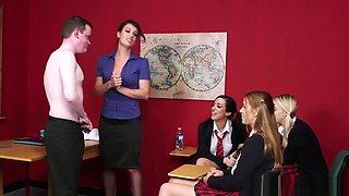 CFNM fetish babe teaches schoolgirls to suck
