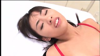 Horny Asian nurse with a sweet ass can't resist a fat cock