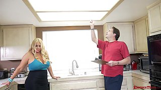 Busty blonde Karen Fisher gets her cunt banged in the kitchen