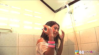 Wet babe in the bathroom needs a toy in her slippery vagina