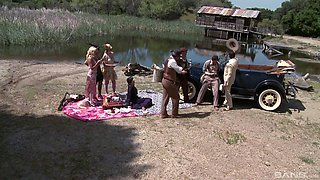 Orgy by the lake with gorgeous girls in vintage lingerie