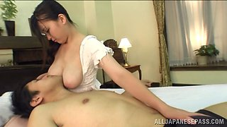 Titty good times as Anna Natsuki lets a guy suck on her nipples