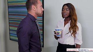 Yummy ebony secretary Ana Foxxx gives a blowjob and gets fucked in the office